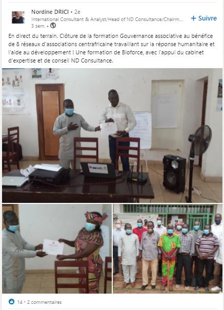En direct du terrain. Clôture de la formation Gouvernance associative au bénéfice de 8 réseaux d'associations centrafricaine travaillant sur la réponse humanitaire et l'aide au développement ! Une formation de Bioforce, avec l'appui du cabinet d'expertise et de conseil ND Consultance.